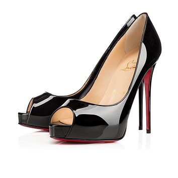 Christian Louboutin Cl New Very Prive Black Patent Leather Ss15 Platforms 1150600bk01