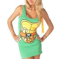 TMNT Teenage Mutant Ninja Turtles Orange Michelangelo Green Sexy Tunic Tank Dress (Juniors Small)