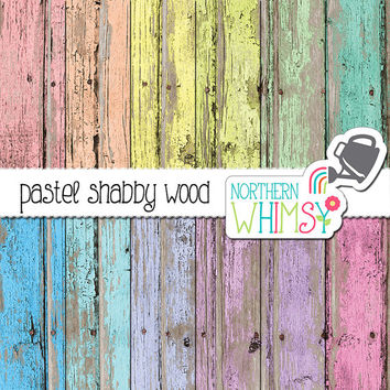 Wood Digital Paper – pastel peeling paint rustic wood digital paper - shabby scrapbook paper - barn board - printable paper - commercial use