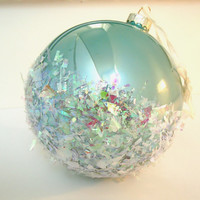 Coastal Christmas Ornament, Beach Christmas -- Oversized Aqua Opal Glass Ball with Iridescent Confetti Snowy Flakes