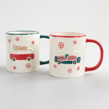 Holiday Bus Mugs Set of 2