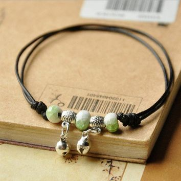 Free shipping! Nice green beads bell pendant black leather chain bracelet adjustable bangle cheap gift for girlfriend student