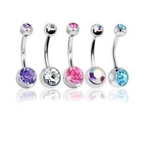 "Lot of 5 Pc Double Jeweled CZ Crystal Gem Belly Button Navel Rings 316L Surgical Steel 14 Gauge (5 Pieces)14G 3/8""(1.6mm~10mm) + 1 Free Belly Retainer 