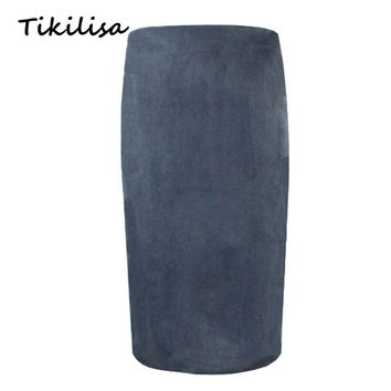 Tikilisa 2017 Solid Casual Suede Leather Women Pencil Skirt Sexy Saia Hip Spring Winter Basic Tube Bodycon Skirts Knee Length