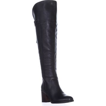 Franco Sarto Ollie Wide Calf Over-The-Knee Boots, Black Leather, 7.5 US / 37.5 EU