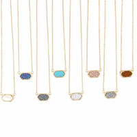 Fashion Choker Necklace for Women 2016 Claw Cute Faux Quartze Oval Pendant Druzy Necklace Jewelry for Women