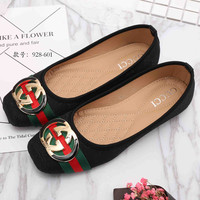 GUCCI  Big logo Green Red Stripe Print Flat Shoes Canvas Women Sandals Shoes