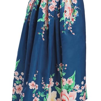 Chic Navy Coral Floral Elegant Flared High Waist Maxi Skirt
