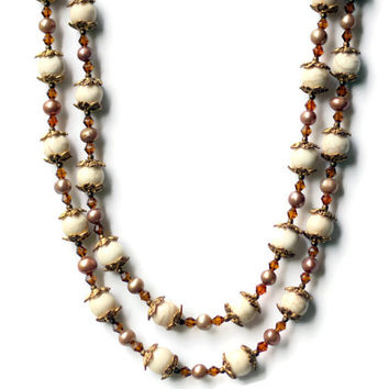 Extra Long Wrap Necklace/ Natural Stone Necklace/ Semiprecious White Cream Gold Necklace/ Howlite Pearls/ Double Strand/ OOAK