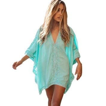 Cotton V-Neck Pareo Beach Dress Bikini Cover Up