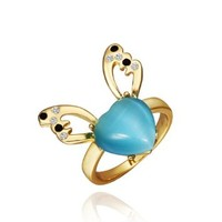 18K Yellow Gold Plated Black Swarovski Elements Crystal Flying Light Blue Heart Ring, Size 8