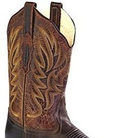 """Old West Dark Brown Womens Leather 11"""" Square Toe Cowboy Western Boots 9 M"""