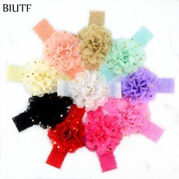 MDIGON 10pcs/lot Retail Elastic Lace Headband with 10.0cm Gold Polka Dot Chiffon Flower Girl Hair Bow Head Band On Sale FD228