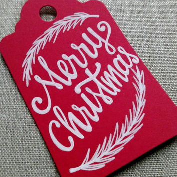 Hand lettered Christmas gift tag, 'Merry Christmas' tag, red holiday gift tag, Christmas gift tag, Holiday gift tag, hand written.