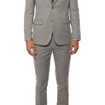 Monaco Hennessey Check Slim Fit 2pc Suit w Flower Pin