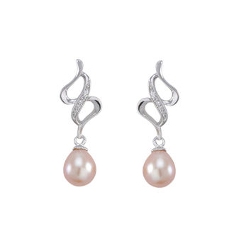 Dangle Earrings Pink Pearl Abstract Swirl Design White CZ .925 Sterling Silver