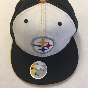 RETRO PITTSBURGH STEELERS NEW ERA WHITE FRONT FLAT BRIM FITTED HAT