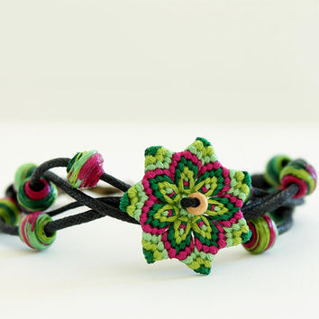 Beaded macrame mandala flower bracelet green pink spring summer