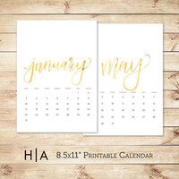 Printable 2016 Calendar Gold Foil 8.5x11  / Wall Calendar / DIY calendars, 12 Monthly planner // Hewitt Avenue