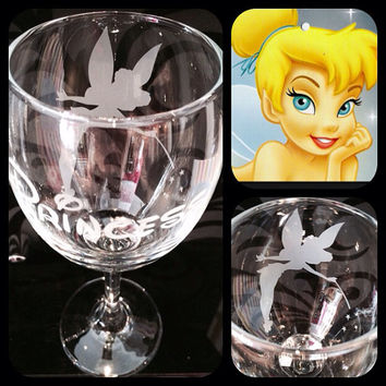 Personalised Disney Tinkerbell Silhouette Wine Glass With Free Name Engraved In Disney Font. Totally Unique Gift For Any Disney Fan!