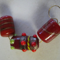 Red Lampwork Beads