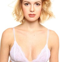 Lace Triangle Bralette - White