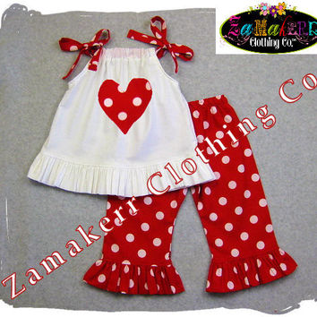 Custom Boutique Clothing Girl Valentines Day Heart Red Pant Outfit Set Toddler Baby Infant Dress 3 6 9 12 18 24 Month Size 2t 3t 4t 5t 6 7 8