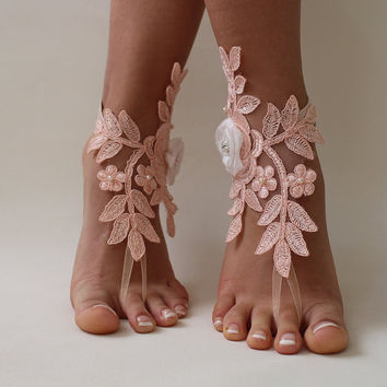 Beach Wedding,Salmon Color,Bridal Barefoot Sandals,Lace Bridal Anklet,Wedding Lace Sandals