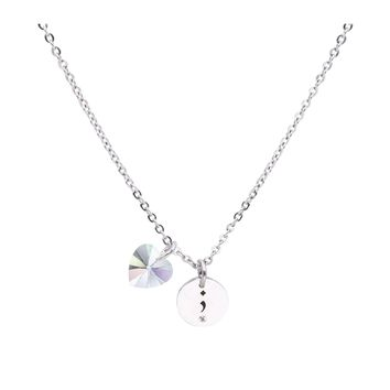 Dainty Inspirational Necklace made with Crystals from Swarovski  - SEMICOLON