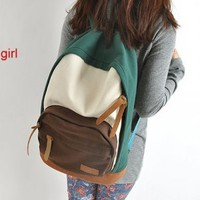 Japanese Style Colorful Bunch Backpack Dark Green Brown