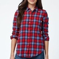 Vans Adolescence Button-Down Flannel Shirt - Womens Shirts - Red