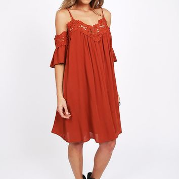 Apricot Sunrise Off-Shoulder Dress | Threadsence