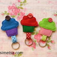 Felt Cupcake Keychain -  Handmade Small Cupcake Key Ring - Colorful Key Ring - Kawaii Key Ring