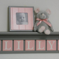 "Pink and Gray Nursery Girl Wall Decor 30"" Grey Shelf - Sign With 7 LIght Pink Wood Letters Custom for LILLY with Hearts"