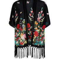 Tokyo Doll Black and Red Oriental Floral Tassel Kimono