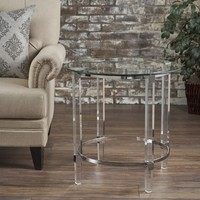 Orson Acrylic and Tempered Glass Square Circular End Table