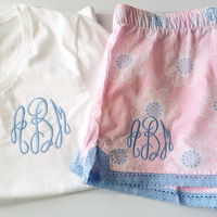 Monogrammed Cotton Boxer Pajama Shorts and Monogrammed vneck - Brodesmaid Gifts- Graduation