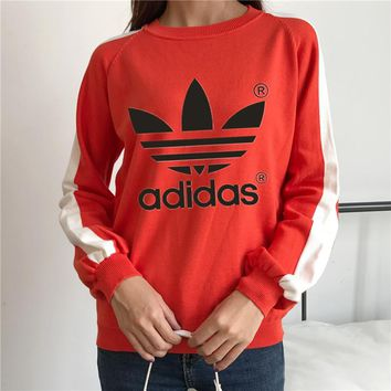 """Adidas"" Women Casual Multicolor Clover Letter Print Long Sleeve Knitwear Sweater Tops"