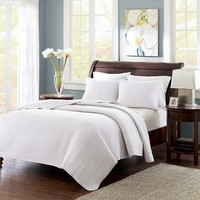 White Mitchell Solid Brushed Fabric Quilt Set Twin/Twin XL 2pc