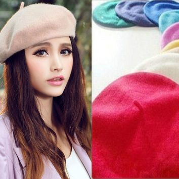 New Fashion Women Classic Wool Blend Warm French Fluffy Beanie Beret Hat Cap