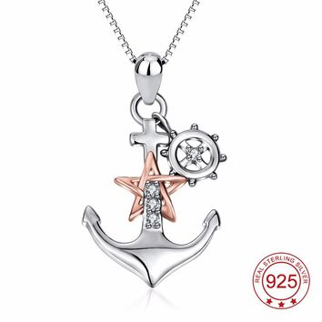 YFN Genuine 925 Sterling Silver Ship Anchor Pendant Rose Gold Star Crystal CZ Pendant Necklace Fashion Jewelry Gift For Women