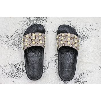 Gucci GG Supreme slide with pearls Slides Slippers