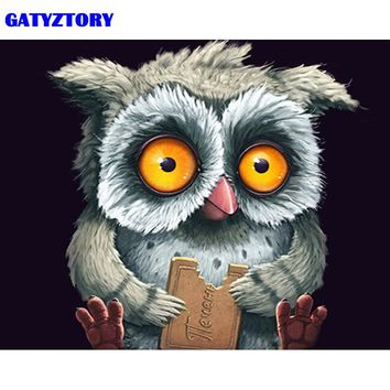 GATYZTORY Frame Abstract Owl DIY Painting By Number Animals Handpainted Oil Painting Modern Wall Art Picture For Home Decors