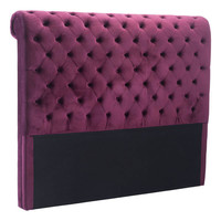 Sergio Headboard Queen Wine Velvet Plywood