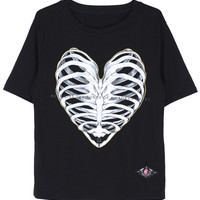 ROMWE Bone Heart Print Short-sleeved Black T-shirt