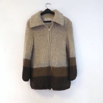 Vintage Alafoss Icewool 70s 80s Tan Brown Sweater Jacket Southwestern Medium Knit Woven Coat Nordic Ski Hiking Boho Hipster Scandinavian