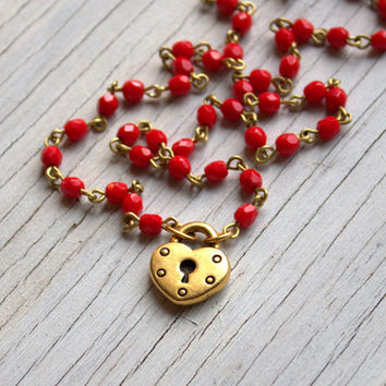 Red Bead Gold Heart Necklace, Red Rosary Style Necklace, Gold Padlock Heart, Valentines Day Necklace Red and White, Gift for Her 18""