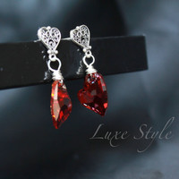Post Ear Rings Sterling Silver Red Swarovksi Crystal Wire Metal Jewelry Handmade Bridesmaid Contemporary Eco friendly modern Luxe Style