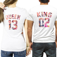 KING and QUEEN Custom number shirts, King Queen flower shirts, Le Fleur King Queen shirts, couple shirts, anniversary gift idea, couples