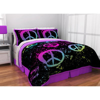 Latitude Peace sign Bed in a Bag 5 piece Set - Twin xl size
